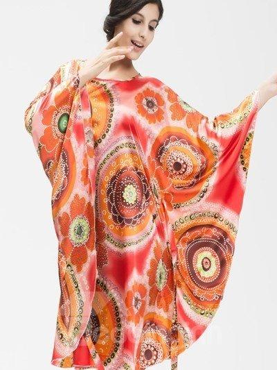 Hollow Colorful Flower Pattern Design Shawl Free Size Sleepshirt