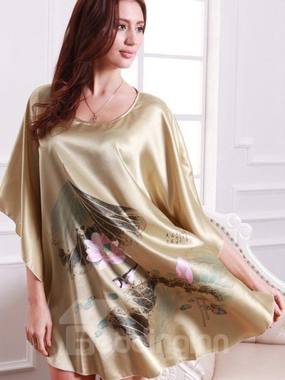 Summer Womens Silk Nightgowns Stain Short Sleeve Sleepwear Night Dress Robes Sleepshirts