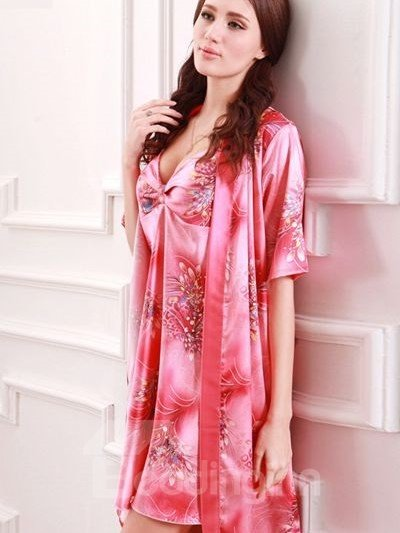 Comfortable Texture Lace Cardigan Beautiful Large Sleepshirt