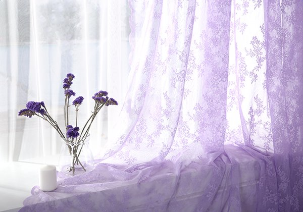 Lovely Purple Lace Sheer Curtain with Waves Border