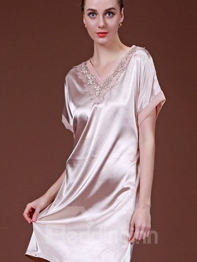 Plain V-Neck Design With Charming Lace Popular Sleepshirt