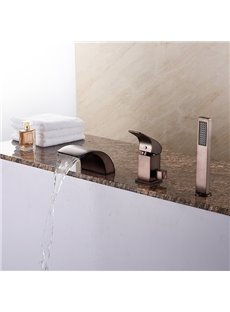 Single Handle Oil-rubbed Bronze Finish Three Holes Bathtub Faucet