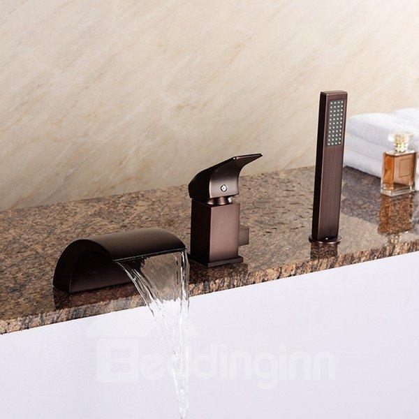 Single Handle Oil-rubbed Bronze Finish Three Holes Bathtub Faucet