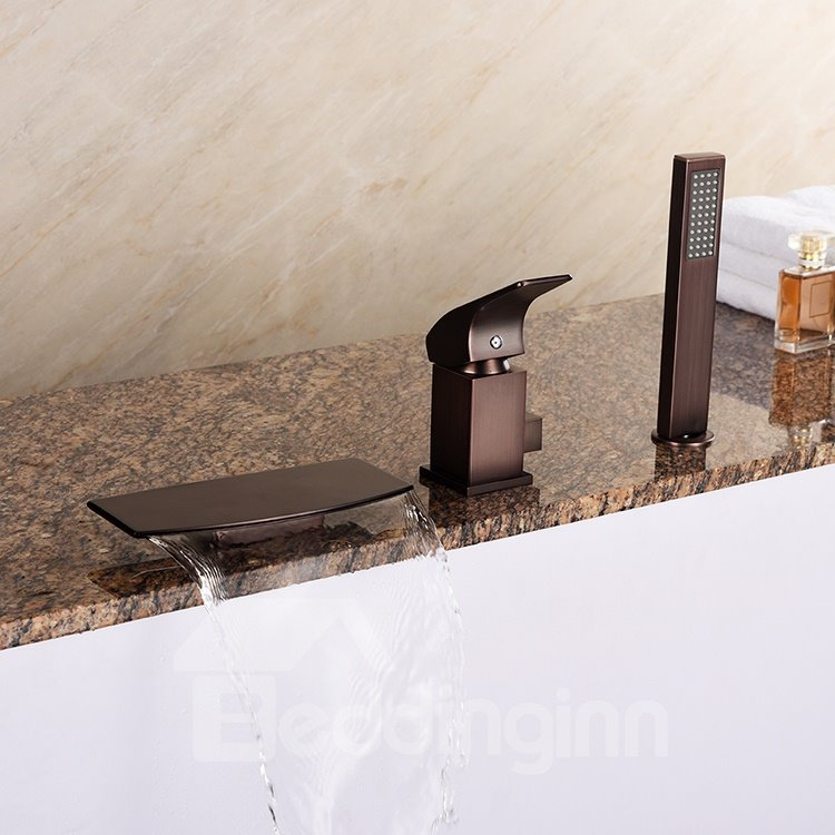 European Style Three Holes Oil-rubbed Bronze Finish Single Handle Bathtub Faucet