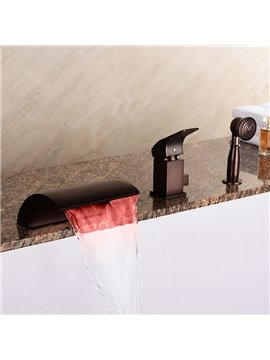 Classic Oil-rubbed Bronze Widespread Single Handle Three Hole LED Light Bathtub Faucet