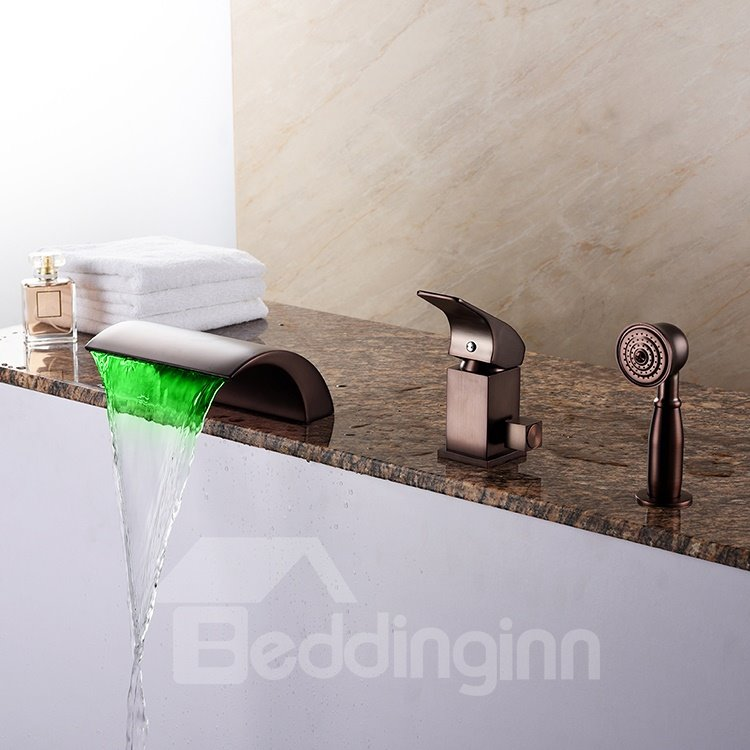 Classic Oil-rubbed Bronze Widespread Single Handle Three Hole LED Light Bathtub Faucet