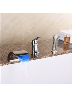 LED Light Single Handle Widespread Three Holes Cold and Warm Water Switch Bathtub Faucet