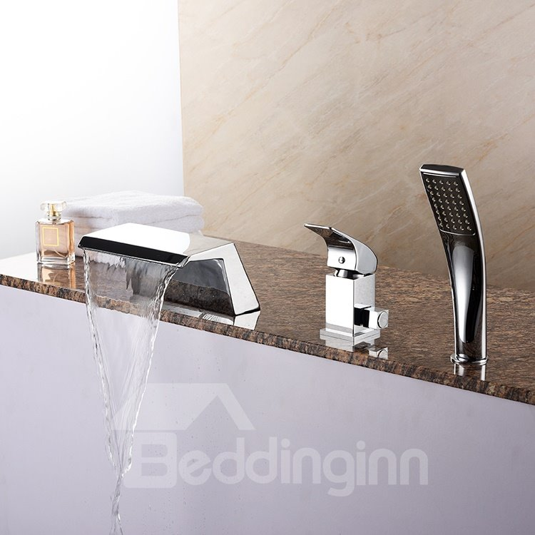 Single Handle Contemporary Chrome Finish Cold and Warm Water Switch Bathtub Faucet