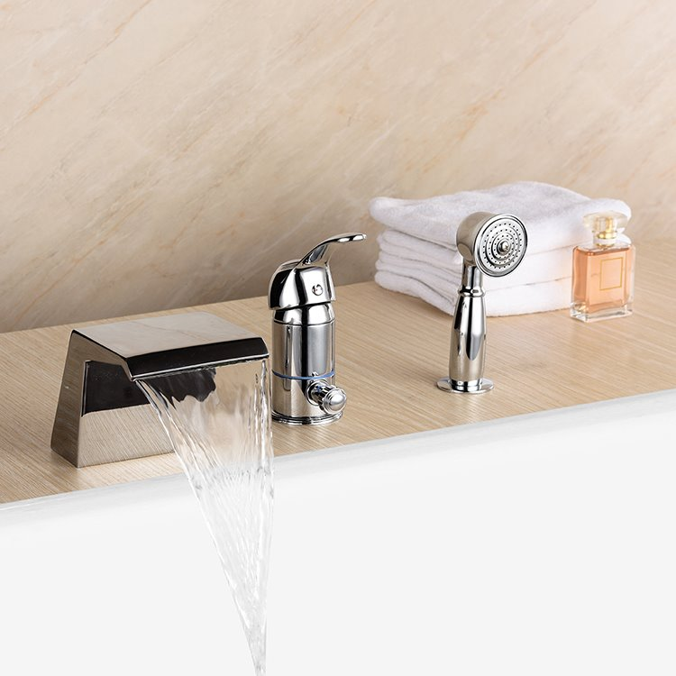 Chrome Finish Single Handle Three Holes Warm and Cold Water Switch Bathtub Faucet