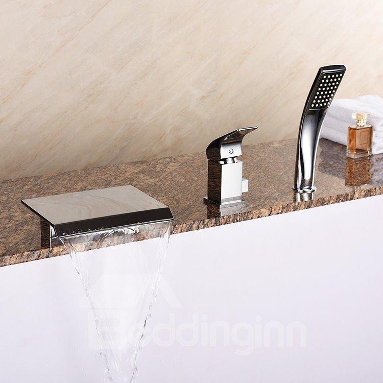 Contemporary Chrome Waterfall Rectangle Shape Three Holes Bathtub Faucet