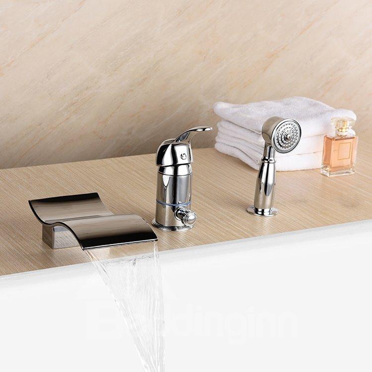 Wonderful Single Handle Three Holes Wave Shape Widespread Bathtub Faucet