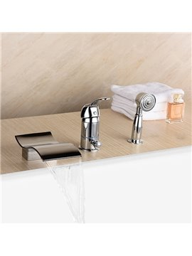 Wonderful Single Handle Three Holes Wave Shape Widespread Bathtub Faucet