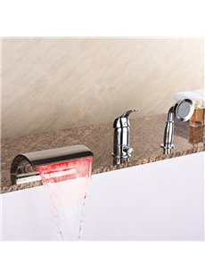 Delicate Three Holes Single Handle LED Light Waterfall Bathtub Faucet