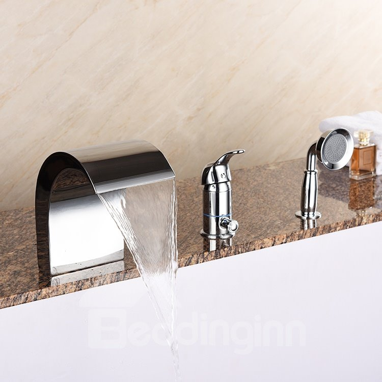Stunning Single Handle Three Holes with Round Shower Head Bathtub Faucet
