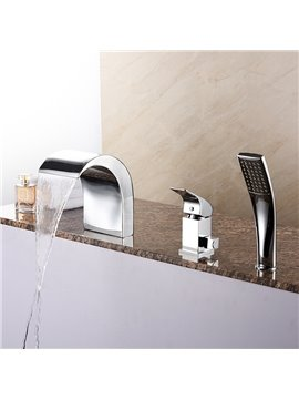 Fancy Contemporary Finish Three Holes Widespread Bathtub Faucet