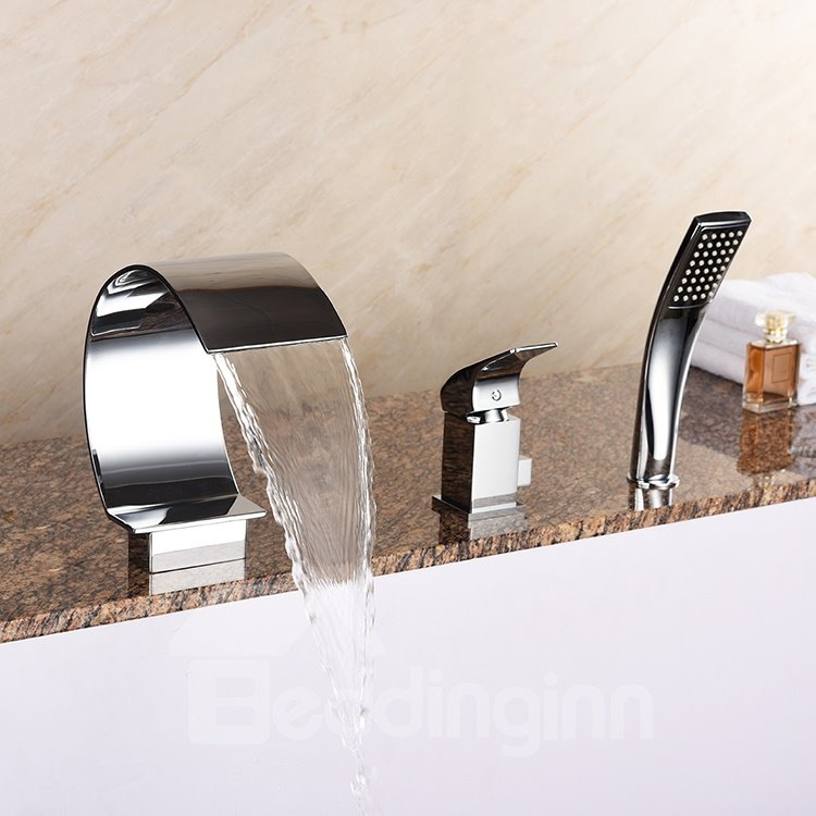 Modern Design Curve Shape Chrome Three Holes Waterfall Bathtub Faucet