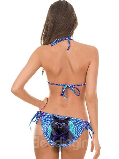 Gorgeous Black Cat Pattern Two-piece Halter 3D Painted Bikini