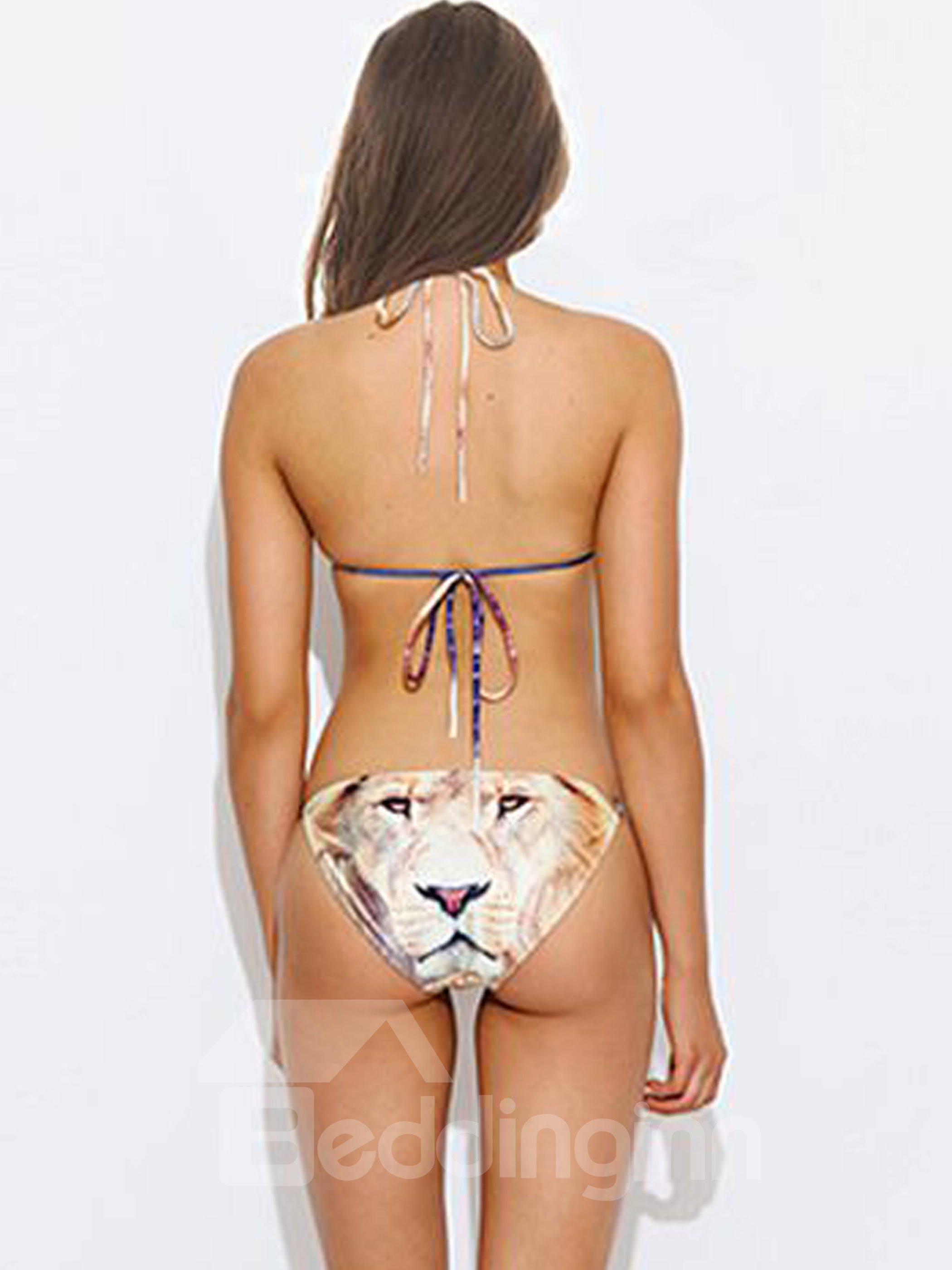 Elegent Sky and Lion Face Pattern Two-piece Halter 3D Painted Bikini