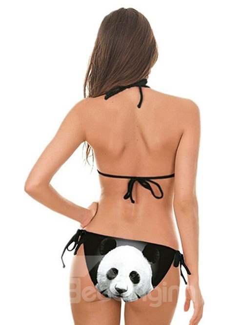 Amazing Panda Face Pattern Black Background Two-piece Halter 3D Painted Bikini