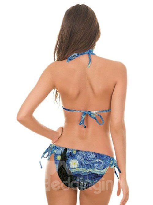 Sexy Oil Painting Style Pattern Two-piece Halter 3D Painted Bikini