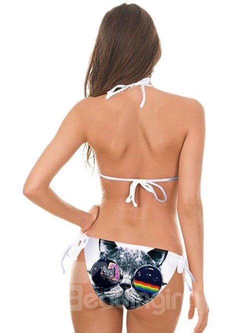 Fashion Cat Wear Sunglasses Pattern Two-piece Halter 3D Painted Bikini