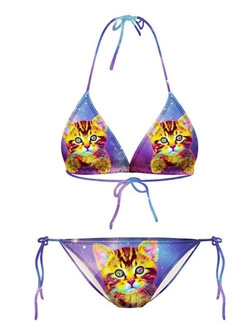 Stunning Cat Pattern Colorful Background Two-piece Halter 3D Painted Bikini