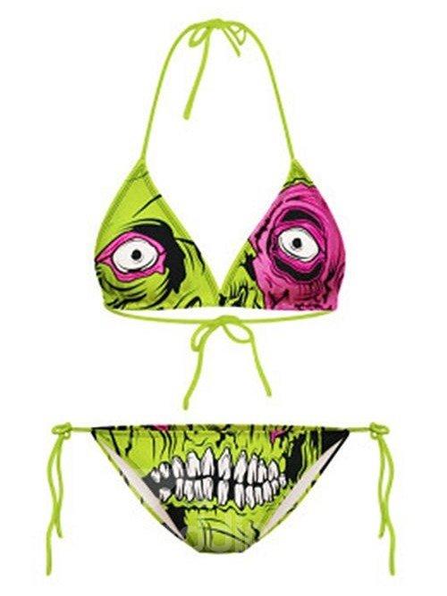 Wonderful Cartoon Green Skull Pattern Two-piece Halter 3D Painted Bikini
