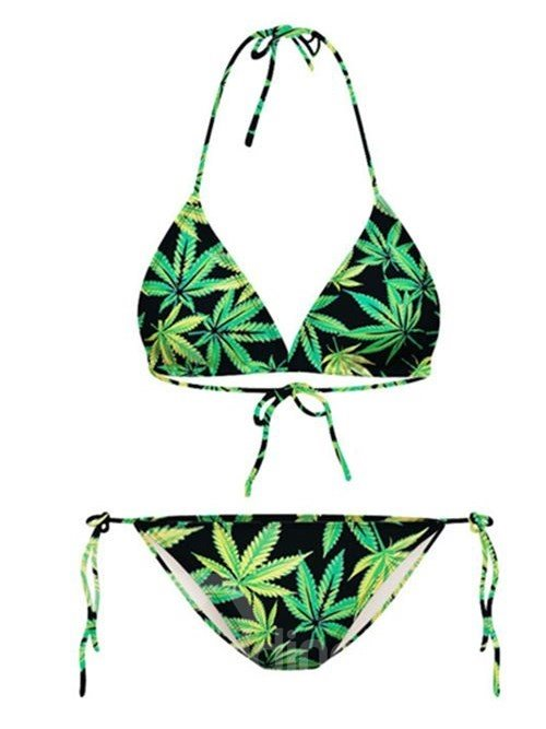 Charming Leaves Pattern Halter Two-Piece 3D Painted Bikini