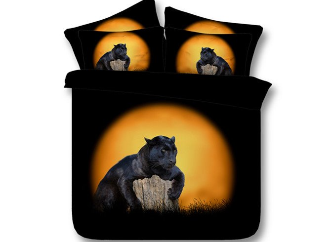 Splendid Panther Print 4-Piece Tencel Duvet Cover Sets