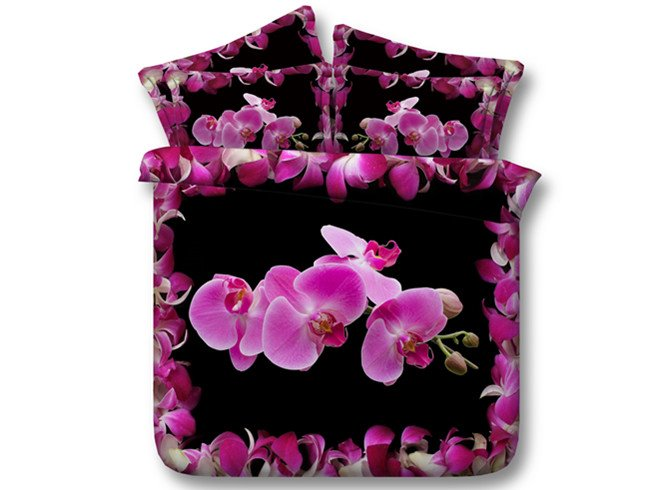 3D Pink Phalaenopsis Printed Cotton 4-Piece Black Bedding Sets/Duvet Covers