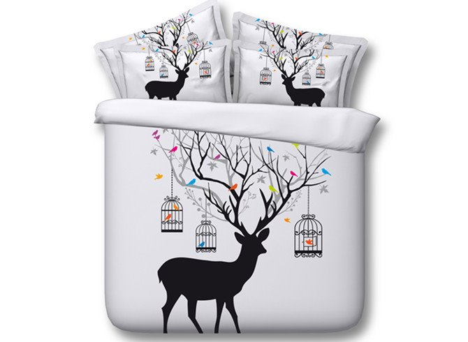 Personalized Deer and Birdcage Print 4-Piece Tencel Duvet Cover Sets