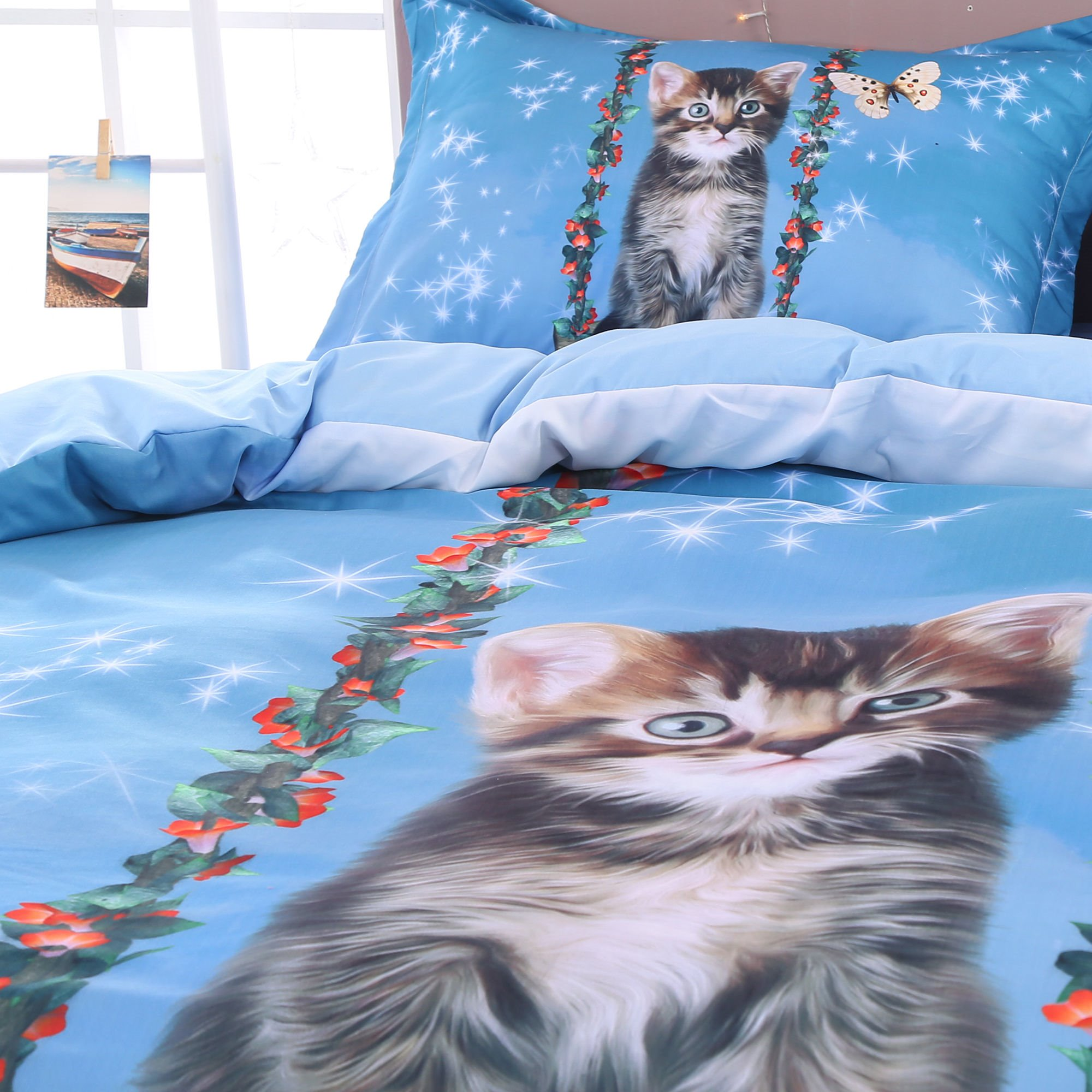 3D Cat and Butterfly Printed 4-Piece Bedding Sets/Duvet Covers