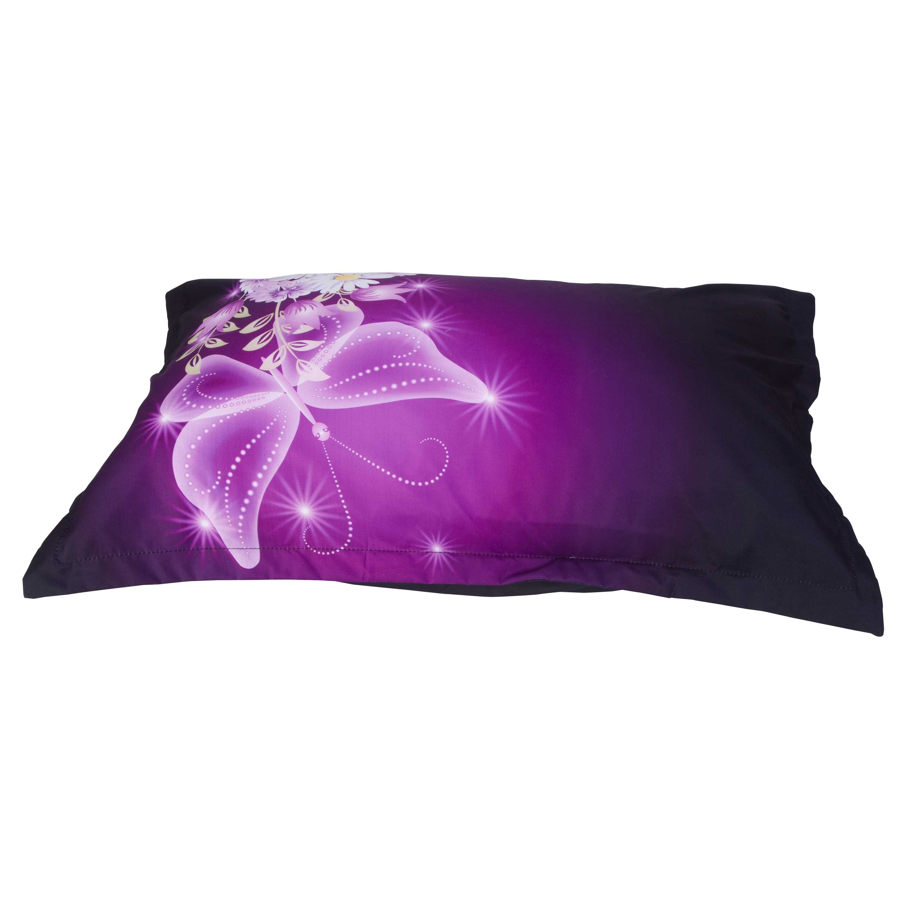 Daisy and Butterfly Printed Cotton 4-Piece 3D Purple Bedding Sets/Duvet Covers