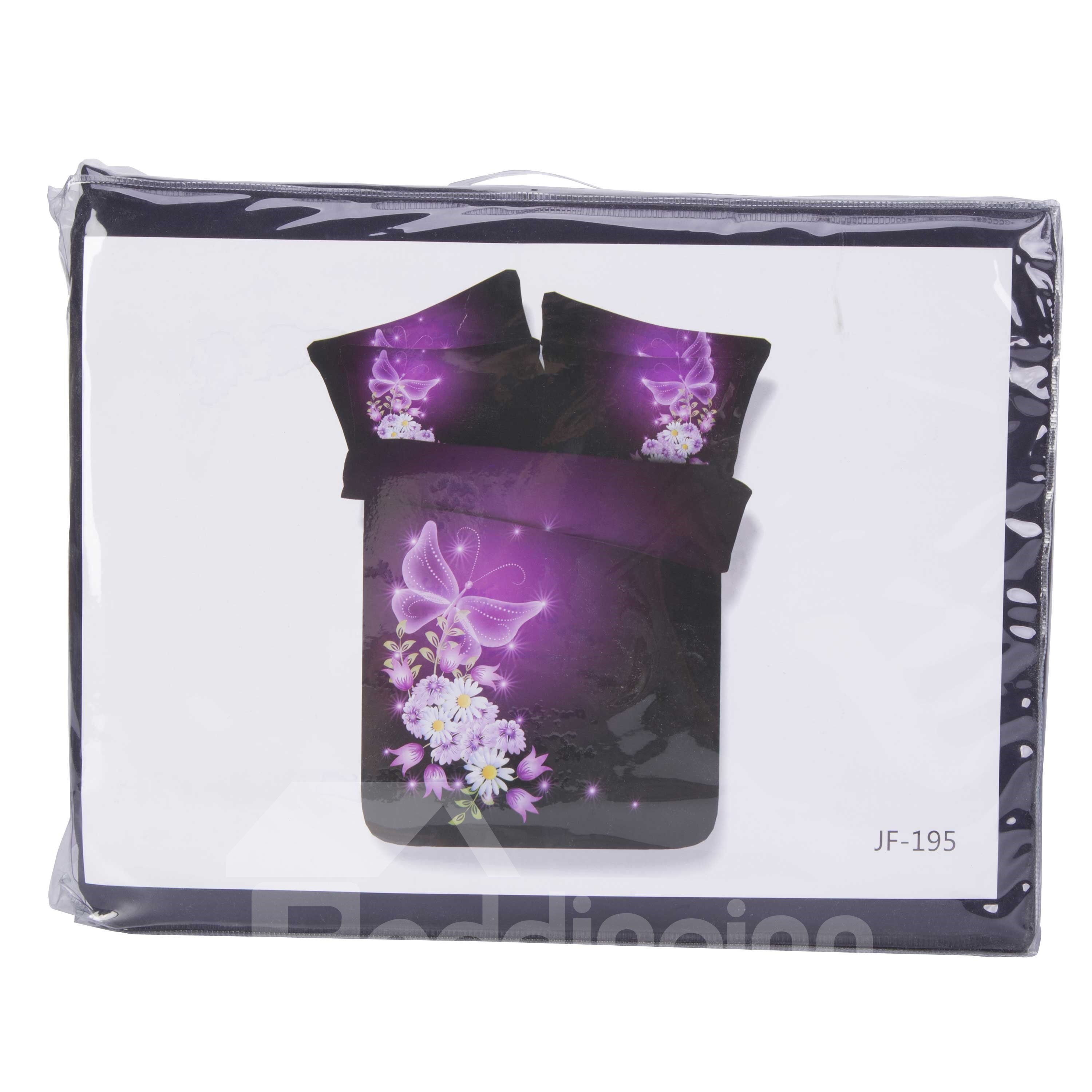 3D Purple Butterfly Printed 4-Piece Bedding Sets/Duvet Covers