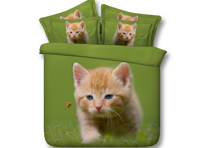 3D Cat and Ladybird Printed Cotton 4-Piece Green Bedding Sets/Duvet Covers