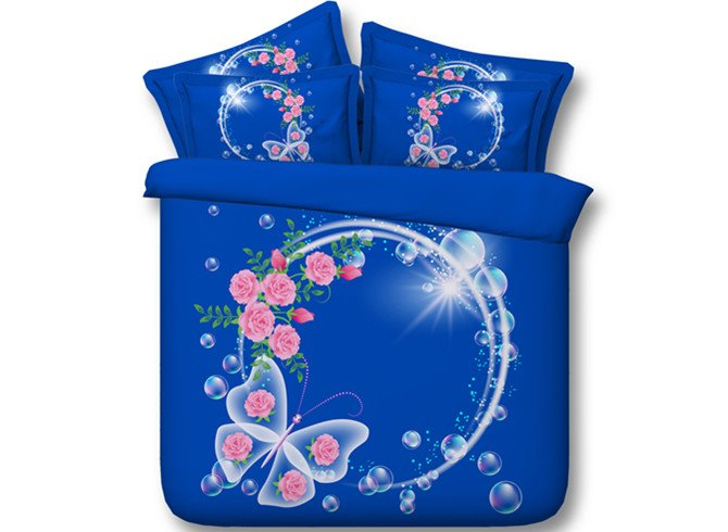 3D Garland and Butterfly Printed Cotton 4-Piece Blue Bedding Sets/Duvet Covers