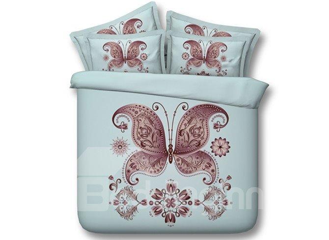Burgundy Butterfly Print 4-Piece Tencel Duvet Cover Sets