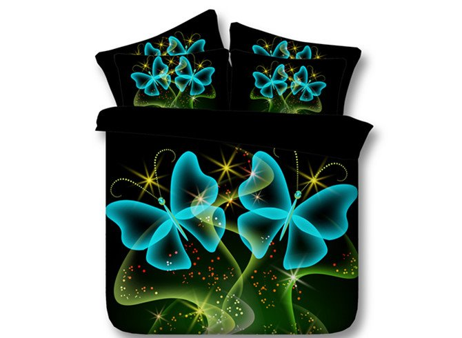 3D Dreamlike Blue Butterflies Printed 4-Piece Bedding Sets/Duvet Covers