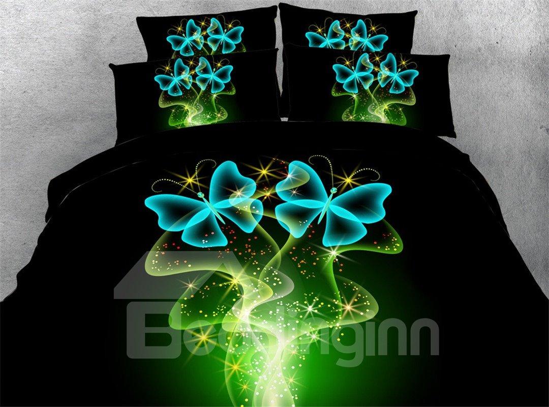 Dreamlike Blue Butterflies Printed 4-Piece 3D Bedding Sets/Duvet Covers