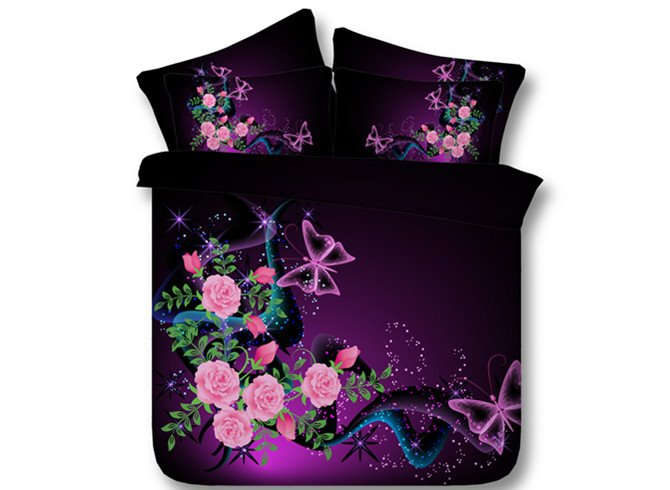 3D Butterflyies and Pink Roses Printed Cotton 4-Piece Bedding Sets/Duvet Covers