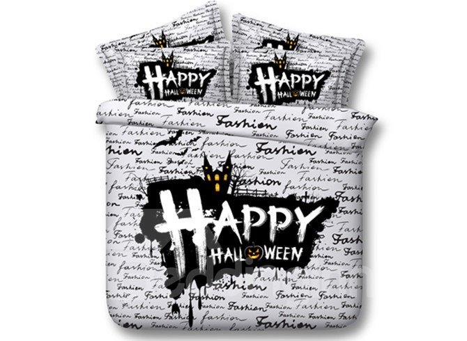 Chic Happy Hallowmas Print 5-Piece Comforter Sets