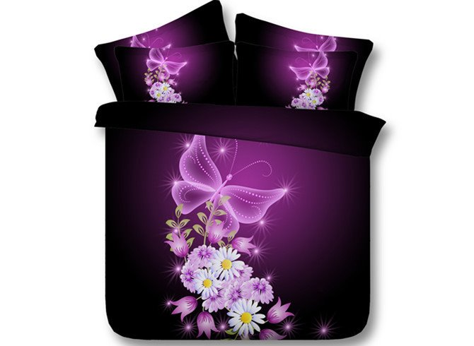 Dreamlike Butterflies and Floret Print 5-Piece Comforter Sets