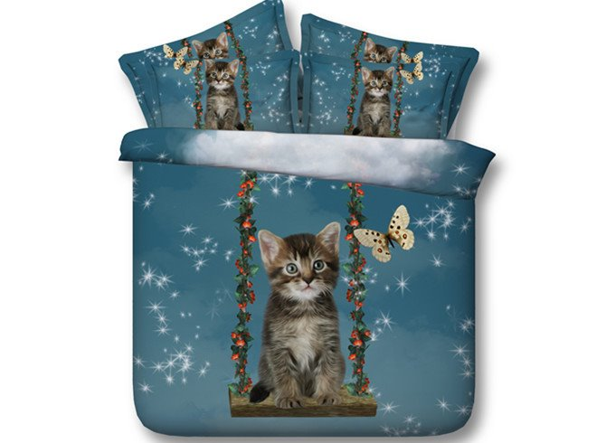 3D Cat and Butterfly Printed Tencel 5-Piece Comforter Sets