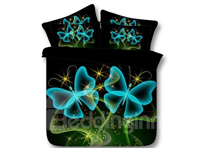 Romantic Blue Butterflies Print 5-Piece Comforter Sets
