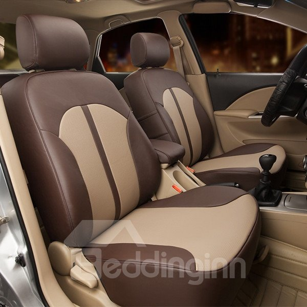 Classic Luxurious Contrast Color PU Leather Material Universal Car Seat Cover