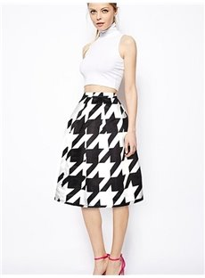 Popular Houndstooth Pattern Midi Skirt