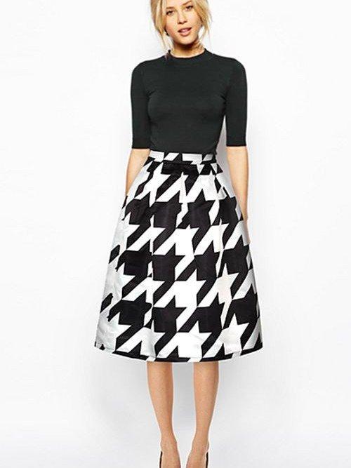 Popular Houndstooth Pattern Midi Skirt