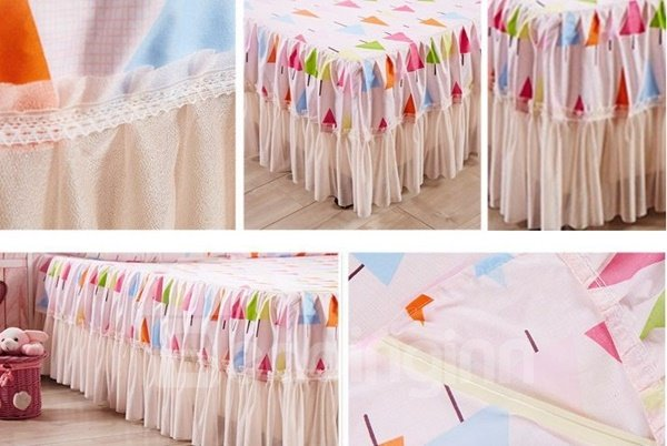 Adorable Tree Print Embellishment Bed Skirt with 2-Piece Pillow Cases