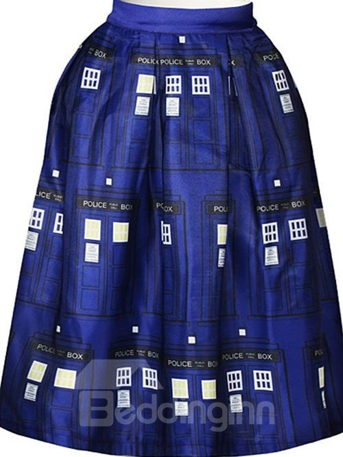 Elegant Door Pattern Dark Blue Background 3D Painted Midi Skirt