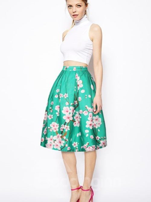 Resplendent Peach Blossom Pattern Green Background 3D Painted Midi Skirt